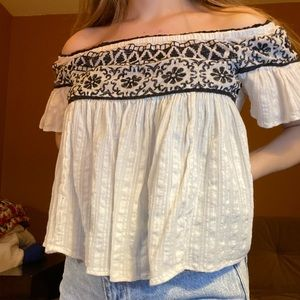 White and black off the shoulder top
